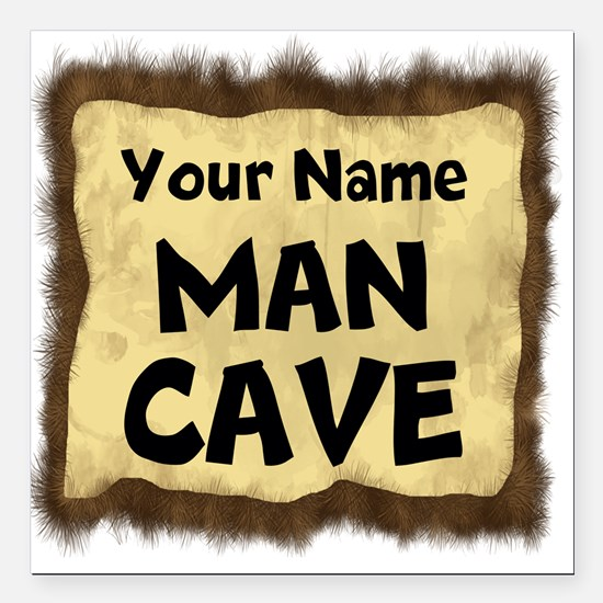 "Custom Man Cave Square Car Magnet 3"" x 3"""