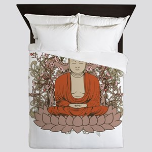 Buddha on Lotus Flower Queen Duvet