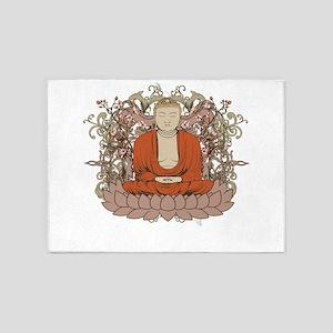 Buddha on Lotus Flower 5'x7'Area Rug