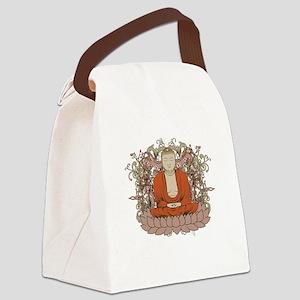 Buddha on Lotus Flower Canvas Lunch Bag