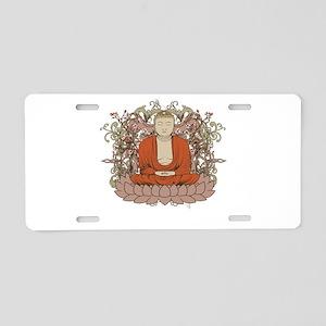Buddha on Lotus Flower Aluminum License Plate