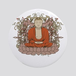 Buddha on Lotus Flower Ornament (Round)