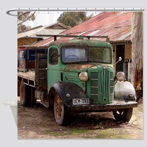 Old green truck Shower Curtain