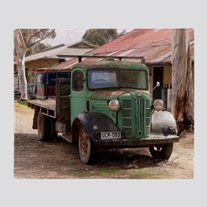 Old green truck Throw Blanket