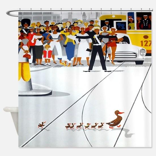 Copenhagen Ducks, Vintage Poster Shower Curtain