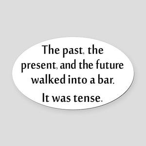 Grammar Joke Oval Car Magnet