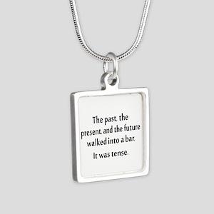 Grammar Joke Silver Square Necklace