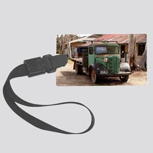 Old green truck Large Luggage Tag