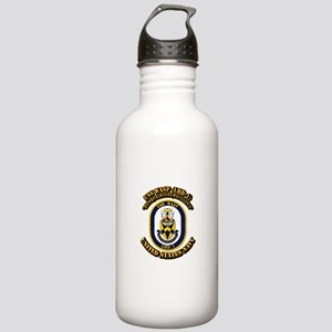 USS Wasp (LHD-1) With text Stainless Water Bottle