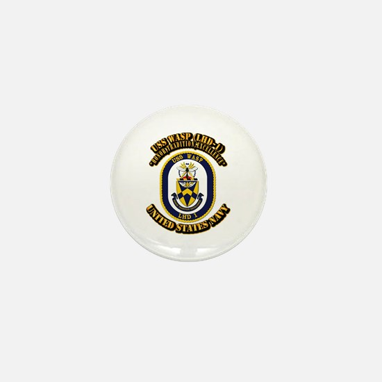 USS Wasp (LHD-1) With text Mini Button