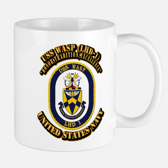 USS Wasp (LHD-1) With text Mug