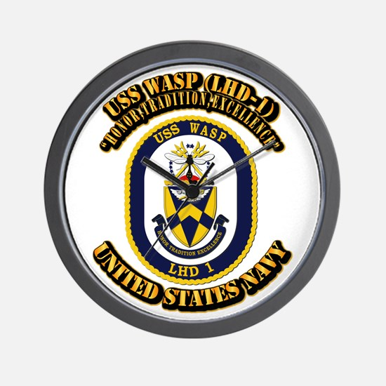 USS Wasp (LHD-1) With text Wall Clock