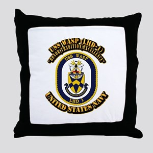 USS Wasp (LHD-1) With text Throw Pillow