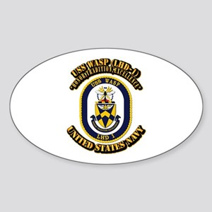 USS Wasp (LHD-1) With text Sticker (Oval)