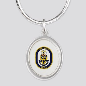 USS Wasp (LHD-1) Silver Oval Necklace