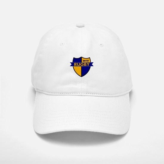 Rugby Shield Blue Gold Baseball Baseball Cap