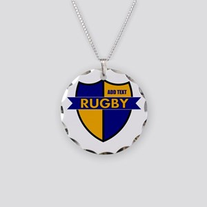 Rugby Shield Blue Gold Necklace Circle Charm