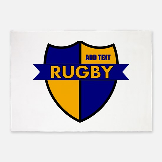 Rugby Shield Blue Gold 5'x7'Area Rug