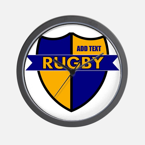 Rugby Shield Blue Gold Wall Clock