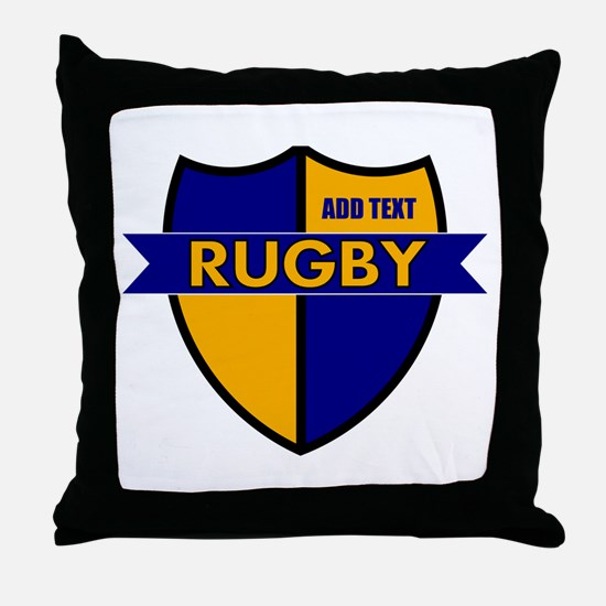Rugby Shield Blue Gold Throw Pillow
