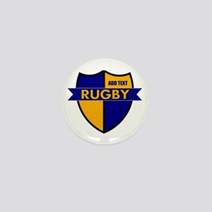 Rugby Shield Blue Gold Mini Button