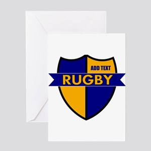 Rugby Shield Blue Gold Greeting Card
