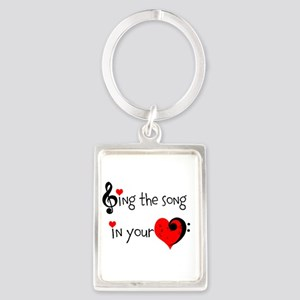 Heart Song Portrait Keychain
