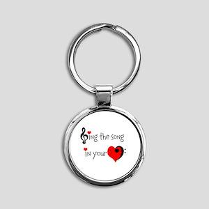 Heart Song Round Keychain