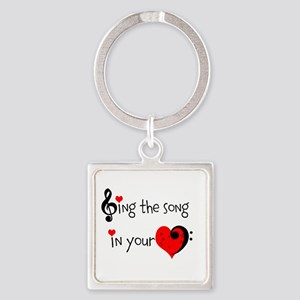 Heart Song Square Keychain