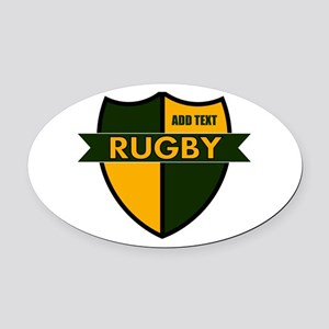 Rugby Shield Green Gold Oval Car Magnet