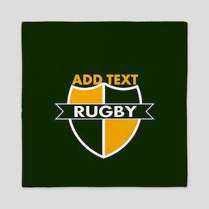 Rugby Crest Green Gold GrnPz Queen Duvet