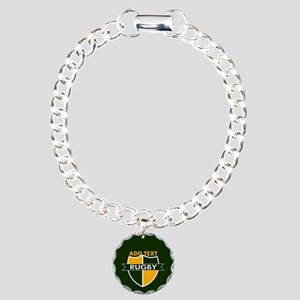 Rugby Crest Green Gold GrnPz Charm Bracelet, One C