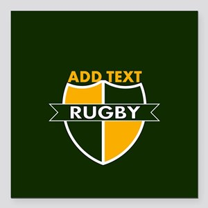 """Rugby Crest Green Gold GrnPz Square Car Magnet 3"""""""