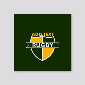 """Rugby Crest Green Gold GrnPz Square Sticker 3"""" x 3"""