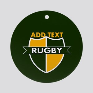 Rugby Crest Green Gold GrnPz Ornament (Round)