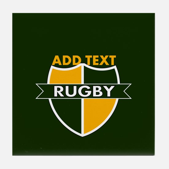 Rugby Crest Green Gold GrnPz Tile Coaster