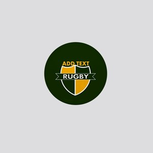 Rugby Crest Green Gold GrnPz Mini Button