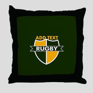Rugby Crest Green Gold GrnPz Throw Pillow