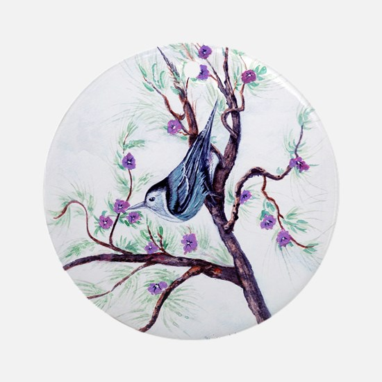 Nuthatch on a Branch Ornament (Round)