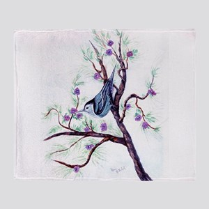 Nuthatch on a Branch Throw Blanket