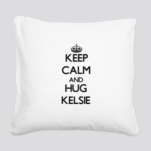 Keep Calm and HUG Kelsie Square Canvas Pillow