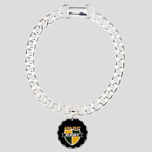 Rugby Crest Green Gold BlkPz Charm Bracelet, One C