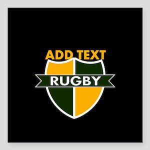 """Rugby Crest Green Gold BlkPz Square Car Magnet 3"""""""