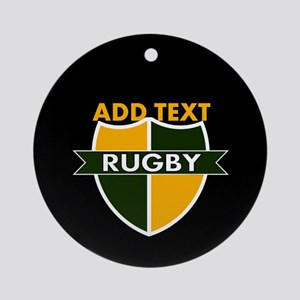 Rugby Crest Green Gold BlkPz Ornament (Round)