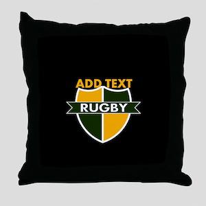 Rugby Crest Green Gold BlkPz Throw Pillow