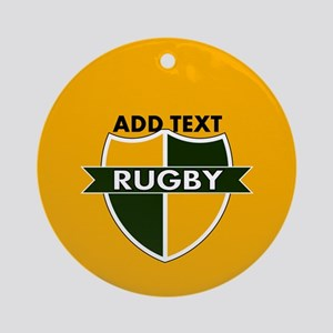 Rugby Crest Green Gold GldPz Ornament (Round)