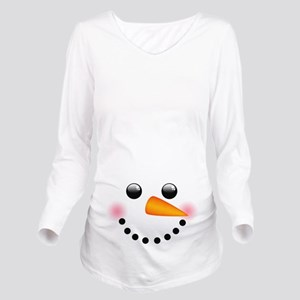 Snowman Face Long Sleeve Maternity T-Shirt