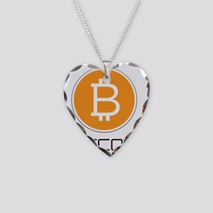 Bitcoin Orange Logo Necklace Heart Charm