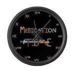 Medication Time Black Large Wall Clock