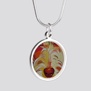 Harvey the Doodle Silver Round Necklace
